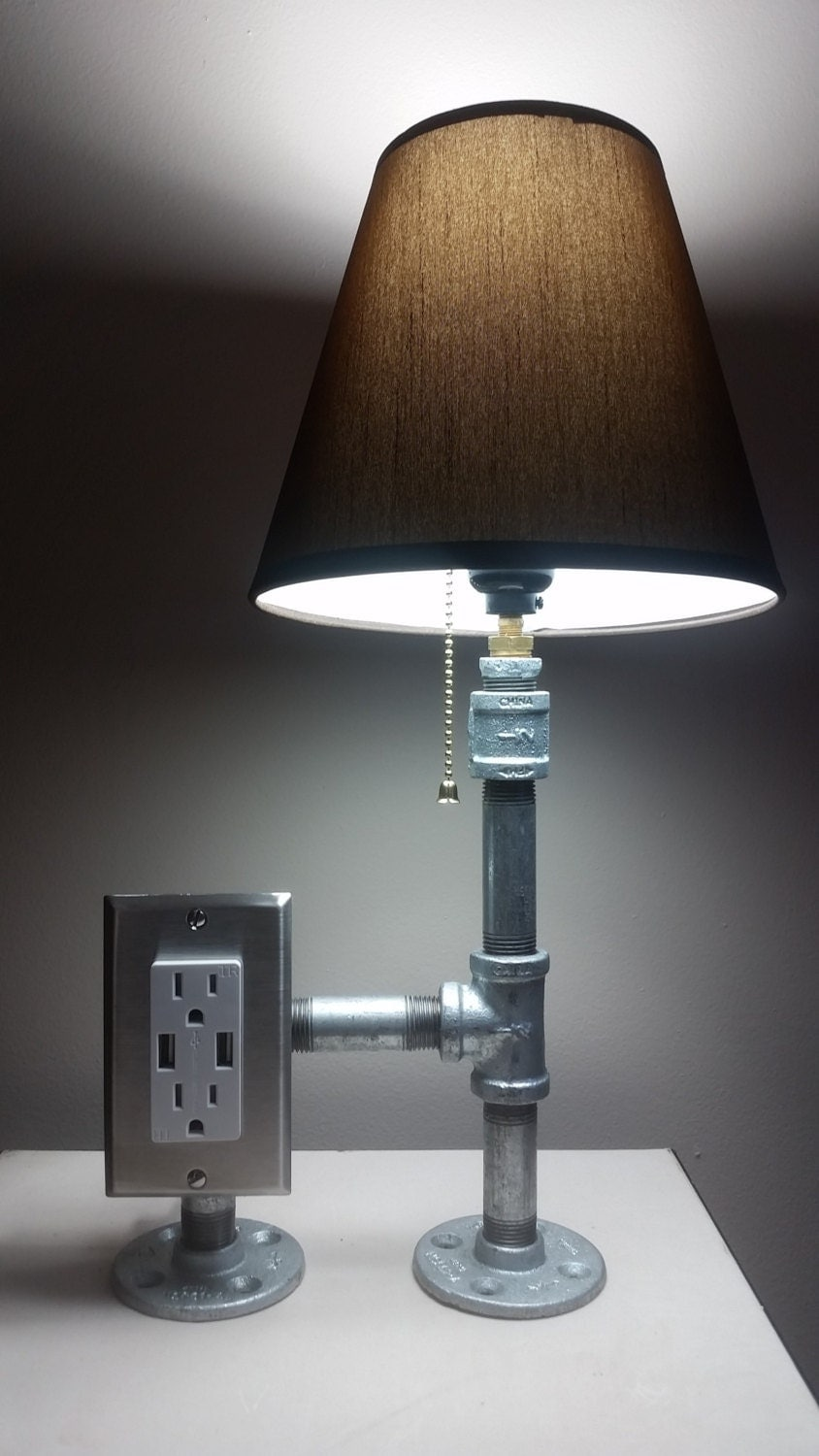 Industrial Steel Pipe Desk Lamp With Tamper Resistant Plug And