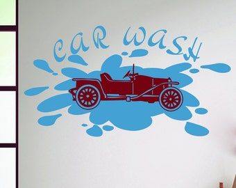 Wall Decal Vinyl Sticker Car Wash Sign Passenger Machine Retro Automobile Auto Motor Design Carwash Car Service Murals Home Décor A343