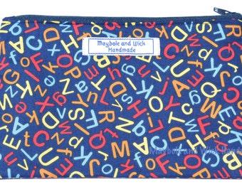 Blue ABC's 'Ellis' Pencil case, handmade pencil case, fabric pencil case