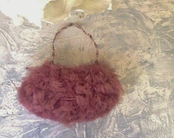 Mauve evening bag ,tulle evening Bag, Evening Purse, Evening Clutch Bag,  Bridal Clutch, Wedding Clutch, Prom Clutch, Gifts for her