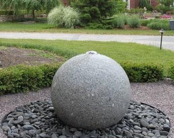 "Textured Granite Sphere Fountain Kit in 8"" 12"" 16"" 20"" & 24"" Sizes -- Complete Fountain Kit w/ Rocks/Pump/Basin Kit - Free Ship!!"
