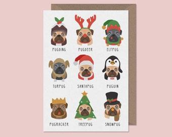 Christmas Pug Card. Pug Christmas Card. Turpug. Puguin. Pugding.Funny xmas card. christmas cards. Pug pun cards