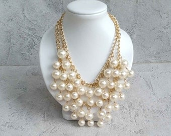 vintage style necklace Pearl multi-strand