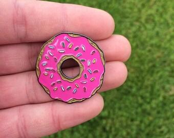 Super Sweet Pink Glazed Donut (Doughnut) enamel Pin Badge