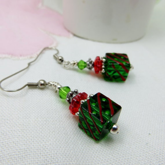 Items similar to christmas package glass beaded earrings