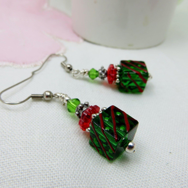 Christmas package glass beaded earrings handmade five