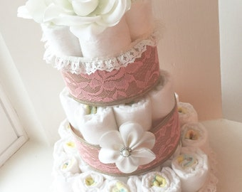 Girl Diaper Cake with a Headband