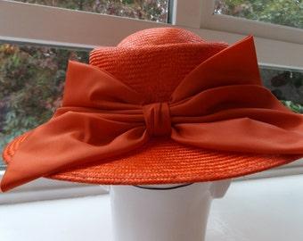 vintage red 80s straw hat mitzi lorenz sun hat