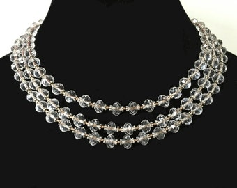 Long crystal necklace, Swarovski, with Bali silver, knotted, flapper length, luxury, bridal, EXTRA LONG!