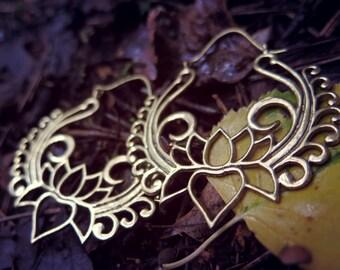 Lotus Brass Earrings