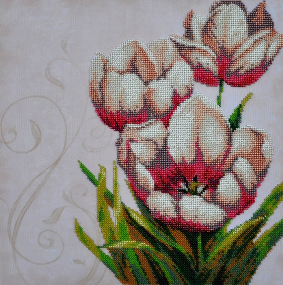 Floral vintage kit for beads embroidery over the fabric