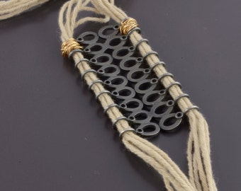 Contemporary Jewelry, Modern fiber necklace, Statement Cotton Necklace, Contemporary jewelry, Unique Y Necklace, unique necklace,