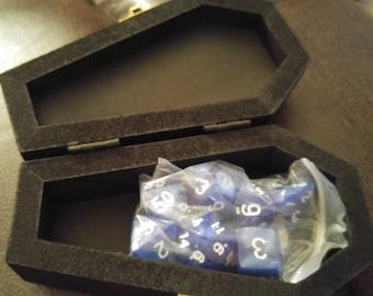 Blue Dice Set in Coffin Box