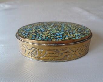brass turquoise mosaic topped trinket box