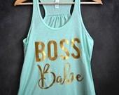 Boss Babe Racerback Tank Top, Gift for Mom, Boss Lady, Like a Boss, Gift for Boss, Best Boss, Wife Mom Boss, Girl Boss
