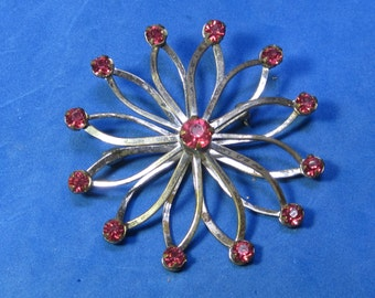 Amazing Vintage Costume Brooch Red Jewels