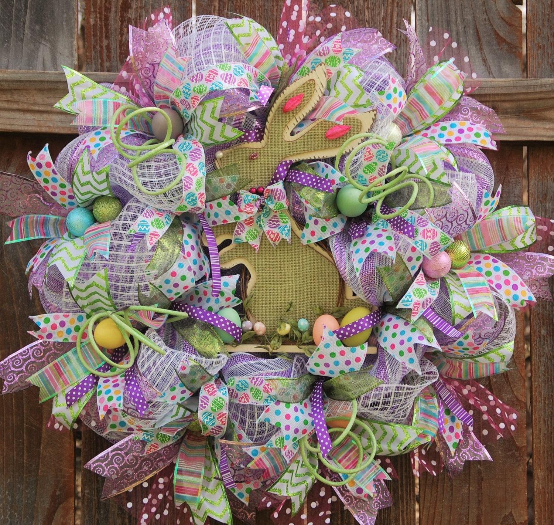 Easter Door Wreath Mesh Wreath Front Door Wreath Mesh Bunny