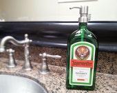 Jagermeister Dispenser / Liquor Bottle Soap Dispenser / Bar Decor / Boyfriend Gift / Gifts For Him / Gift For Dad / Lotion / Green Glass