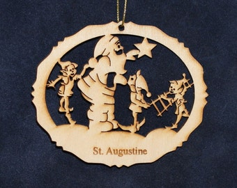 Santa (6) Ornament ~Wood~Personalized FREE