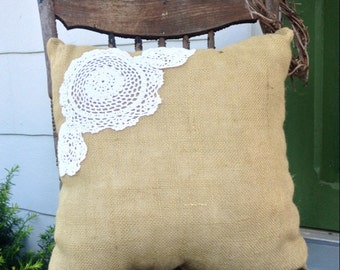 Large Burlap and Lace Doily Pillow 2