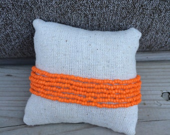 Orange beaded bracelet, orange multistrand, boho bracelet, orange cuff bracelet, orange bracelet, orange bridesmaids, pumpkin bracelet, fall