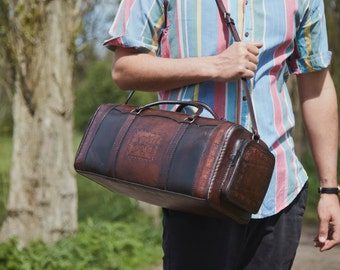 The mini Ozcar leather holdall/ weekender bag