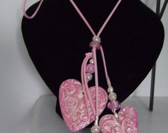Three heart dusky pink polymer clay necklace
