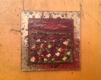 Vintage chic handpainted glass tile