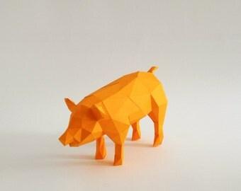 Orange Pig 3D puzzle paper craft DIY kit home decoration,  Folding pets