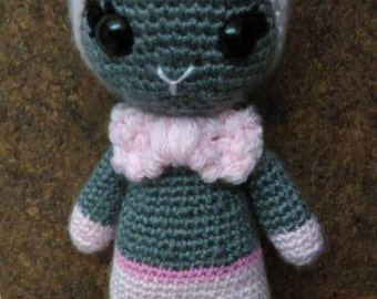 Pink & gray crochet doll