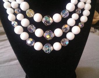 Vintage LAGUNA 3 strands beaded choker necklace
