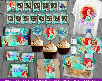 Little Mermaid Party Package - PERSONALIZED - Little Mermaid Birthday Party - Party decoration - cards tags wrappers signs labels toppers