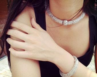 """Necklace and bracelet """"Cleo"""" brass"""