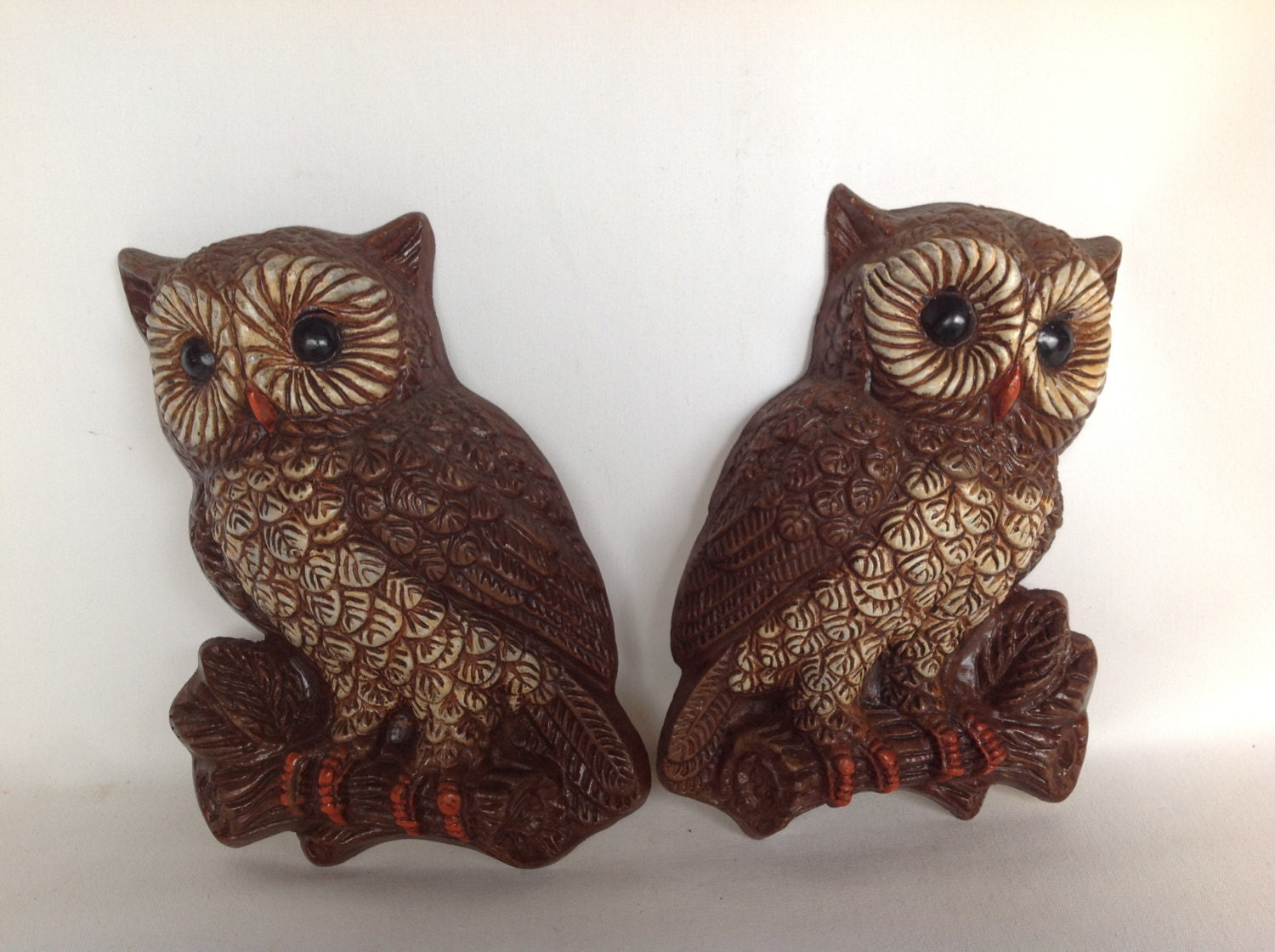 owl wall hanging owl vintage 1970s owl set of 2 wall. Black Bedroom Furniture Sets. Home Design Ideas