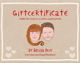 Custom Couple portrait, Gift Certificate, last minute gift, christmas gift, printable gift, gift voucher, couple with pet, gift idea