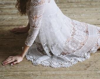 25% OFF SALE - crochet boho white dress, hand knitted cotton crochet unique