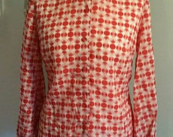 White And Red Patterned 1970s Blouse