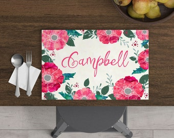 Campbell - Personalized Kids Placemat - Floral Placemat - Watercolor Placemat - Custom Placemat - Christmas Gift - Child Placemat