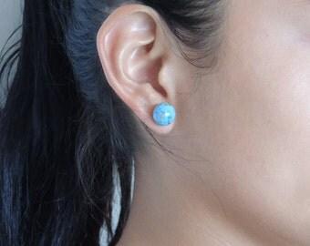 earring, turquoise earrings, ceramic earrings, silver 925 earring
