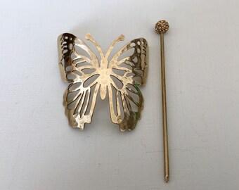 Butterfly Brass Hair Clip
