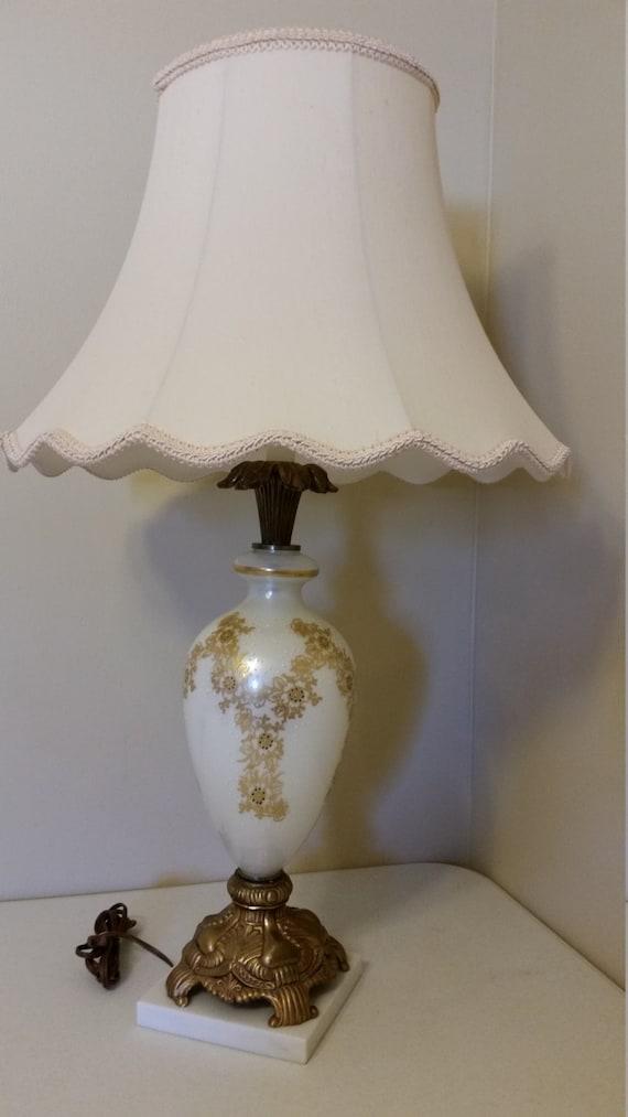 Antique Table Lamp Hollywood Regency White By Dedhamtreasures