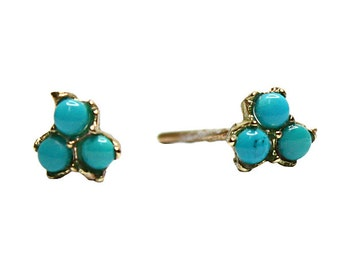 Hand Made  Turquoise Bloom Earrings 14k yellow gold  flower studs,Turquoise earrings stud.