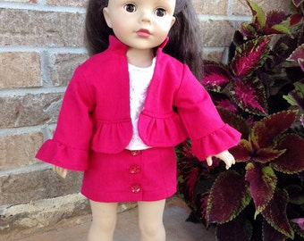 18 Inch Doll Trendy Hot Pink Jacket, Skirt and T-shirt