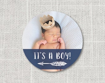It's A Boy Stickers, Baby Shower Photo Stickers, Baby Shower Favor Stickers, Baby Party Labels