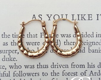 9ct Yellow Gold Ribbed Hoop Earrings