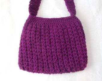 Purple crocheted women's shoulder bag, crochet bag, purple bag