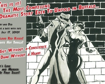 Film Noir invitation suite Custom Illustrations