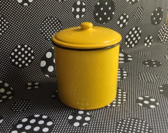 Bucket of Sunshine~Vintage~Enamelware~Metal~Canister~With Lid~Yellow