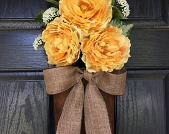 Yellow peony summer door hanger - wreath alternative