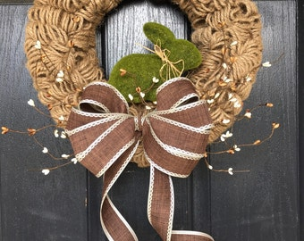 Spring moss bunny in a twine loop wreath